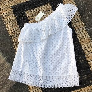 Tory Burch Zoe Eyelet One Shoulder Top NWT 8 White